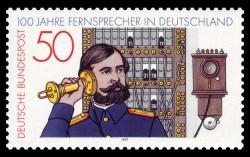 Briefmarke 100 Jahre Telefon (Bild: NobbiP [Public domain], via Wikimedia Commons)