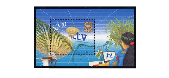 Briefmarke aus Tuvalo mit der eigenen Top-Level-Domain