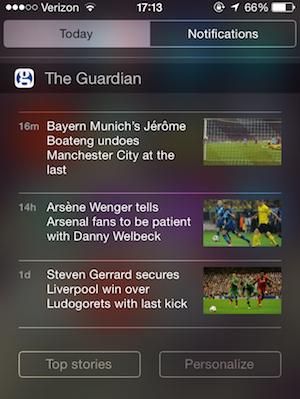 Guardian auf dem iOS 8
