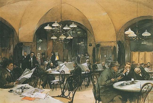 Cafe Griensteidl, 1896 (Bild: Reinhold Völkel [Public domain], via Wikimedia Commons)