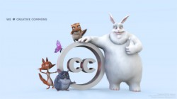 Big Buck Bunny, Creative Commons, CC, Big Buck Bunny characters posing for Creative Commons