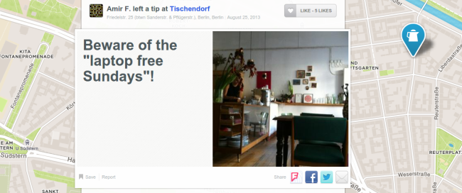 "Amirs Tipp beim Café Tischendorf: ""Be aware of the laptop free sundays"""