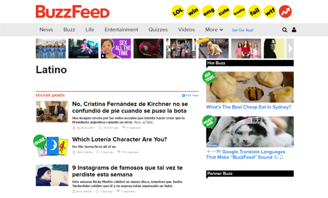 BuzzFeed Latino Tag (Bild: Screenshot, via BuzzFeed)