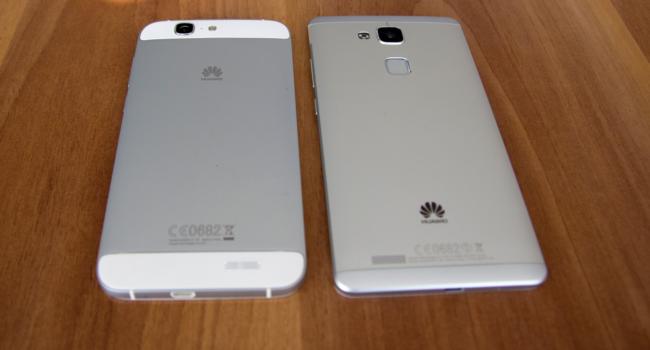 Das Huawei Ascend G7 und des Ascend Mate 7 von hinten (Bild: Alexandra von Heyl/Netzpiloten, CC BY 4.0)