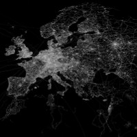 OpenStreetMap GPS trace density in and near Europe (Image:Eric Fischer [CC BY 2.0], via Flickr)