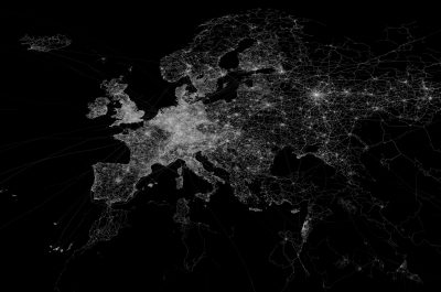 OpenStreetMap GPS trace density in and near Europe (adapted) (Image by Eric Fischer [CC BY 2.0] via Flickr)