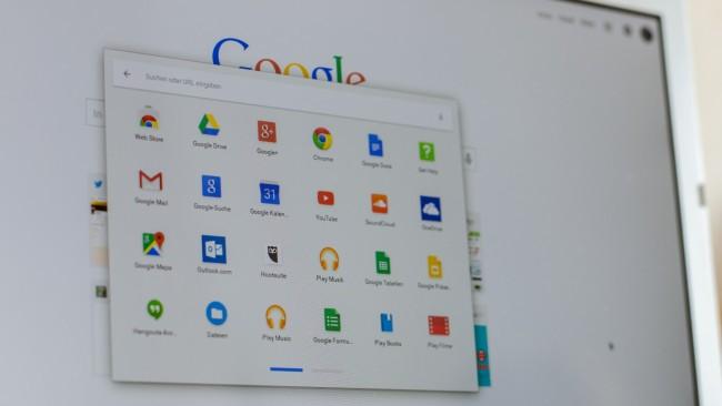 Desktop des Toshiba Chromebook mit Chrome OS
