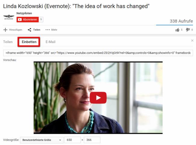 Embedding von YouTube-Videos im eigenen Blog