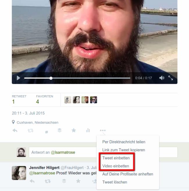 Embedding von Tweets und Videos von Twitter im eigenen Blog