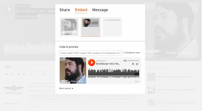 Embedding von Musik und Podcasts von SoundCloud im eigenen Blog