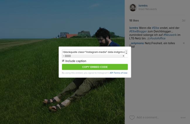 Embedding von Fotos und Videos von Instagram im eigenen Blog