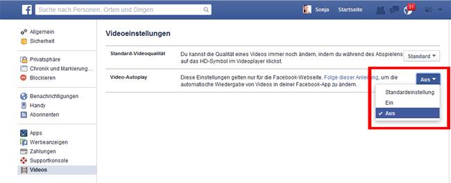 Autoplay vei Videos auf Facebook deaktivieren