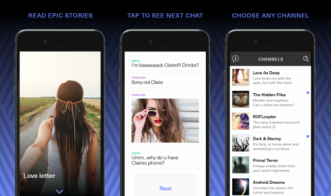 Literatur-App Hooked für das iPhone