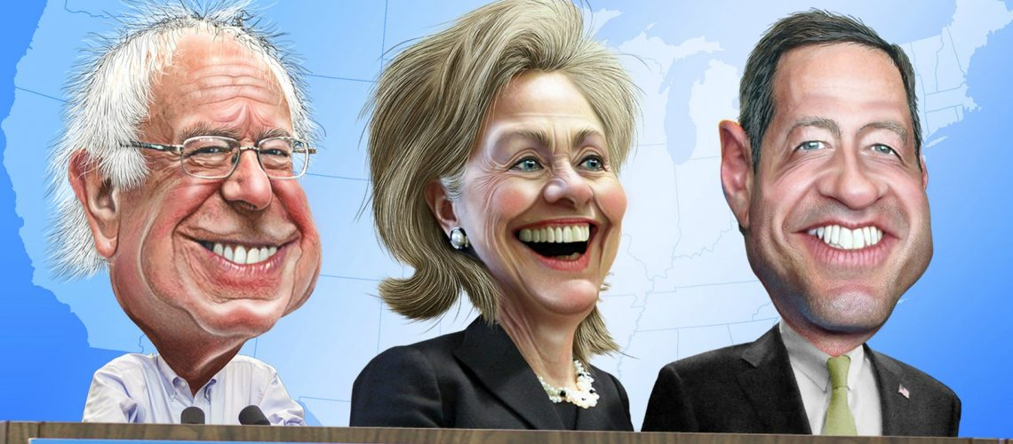 Top Three 2016 Democratic Candidates - Caricatures (adapted) (Image by DonkeyHotey [CC BY-SA 2.0] via flickr)
