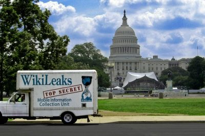 wikileaks truck capitol hill (adapted) (Image by Wikileaks Mobile Information Collection Unit [CC BY 2.0] via flickr)