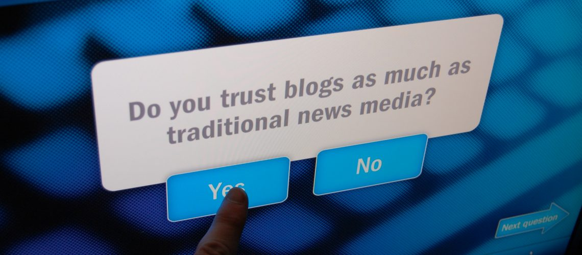 Newseum Do You Trust Blogs (adapted) (Image by Rogers Cadenhead [CC BY-SA 2.0] via Flickr)