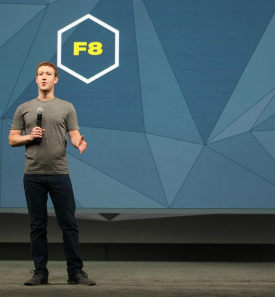 Mark Zuckerberg on stage at Facebook's F8 Conference (adapted) (Image by Maurizio Pesce [CC BY 2.0] via flickr)