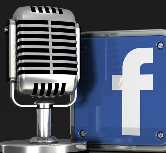 Microphone and Facebook Logo (adapted) (Image by C_osett [CC0 Public Domain] via flickr)