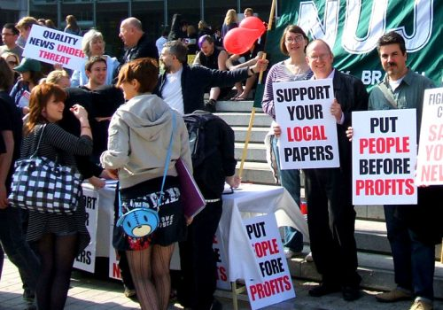 Norfolk NUJ Protest in Norwich, outside the Forum, against Archant's plans to slash 34 newsroom staff (adapted) (Image by Roger Blackwell [CC BY 2.0] via Flickr)