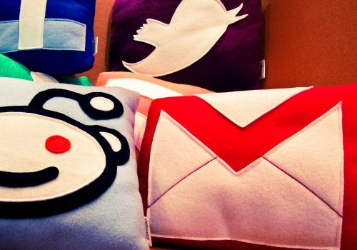 Social Media Pillows (adapted) (Image by Nan Palmero [CC BY 2.0] via Flickr)