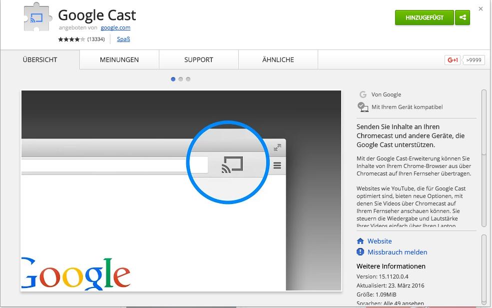 Google Cast Erweiterung für Chrome auf dem Mac (Screenshot)