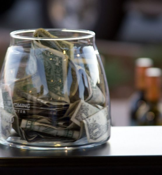 Tip Jar at Open Bar (adapted) (Image by Dave Dugdale [CC BY-SA 2.0] via Flickr)