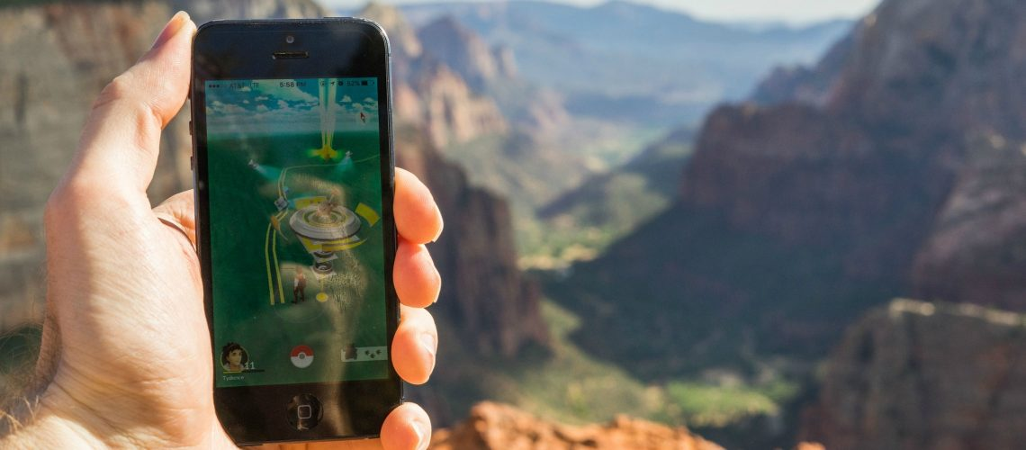 Pokemon Gym at the peak of Zion Observation Point (adapted) (Image by Tydence Davis [CC BY 2.0] via flickr)