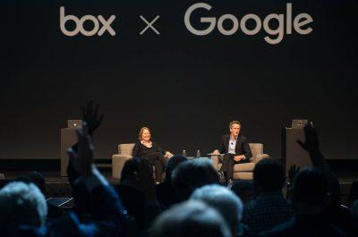 Diane Greene von Google und Aaron Levie von Box