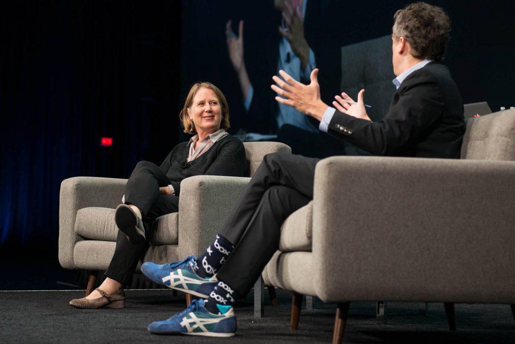 Diane Green stellt mit Aaron Levie die Kooperation von Google und Box vor