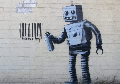 Banksy NYC, Coney Island, Robot (adapted) (Image by Scott Lynch [CC BY-SA 2.0] via Flickr)