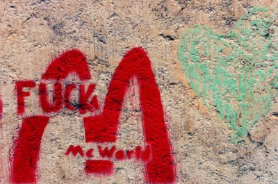 Love & Hate - #graffiti #stencil #crayon #heart #mcdonalds (adapted) (Image by spoxx [CC BY-SA 20] via flickr)