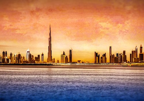 Dubai Skyline (adapted) (Image by Fariz Safarulla [CC BY-SA 20] via flickr)