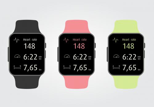 Fitness-Armband, rot, grün, schwarz, Vektorgrafik