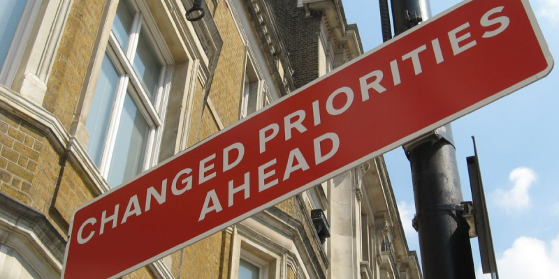 Changed Priorities Ahead sign (adapted) (Image by R DV RS [CC BY 2.0] via Flickr)
