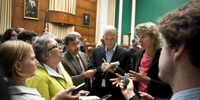 NRC Chairman Anser Reporter Questions (adapted) (Image by Nuclear Regulatory Commission [CC BY 2.0] via Flickr)