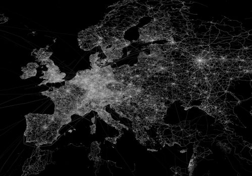 OpenStreetMap GPS trace density in and near Europe (adapted) (Image by Eric Fischer [CC BY 2.0] via Flickr