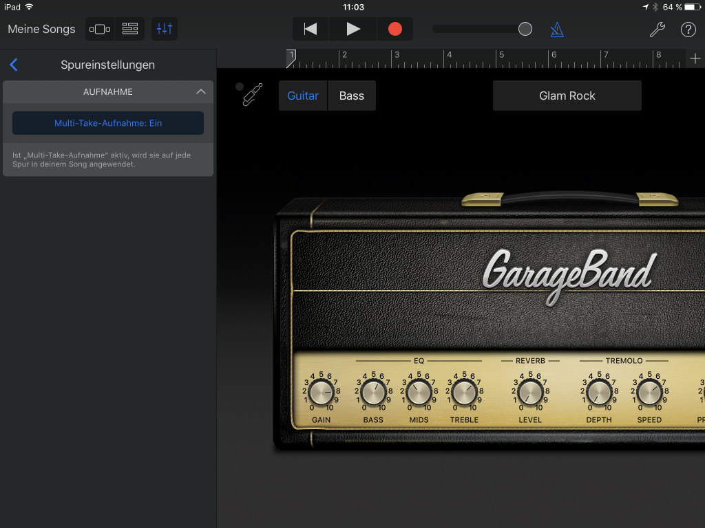 multitake-GarageBand (adapted) (Screenshot by Stefan von Gagern)