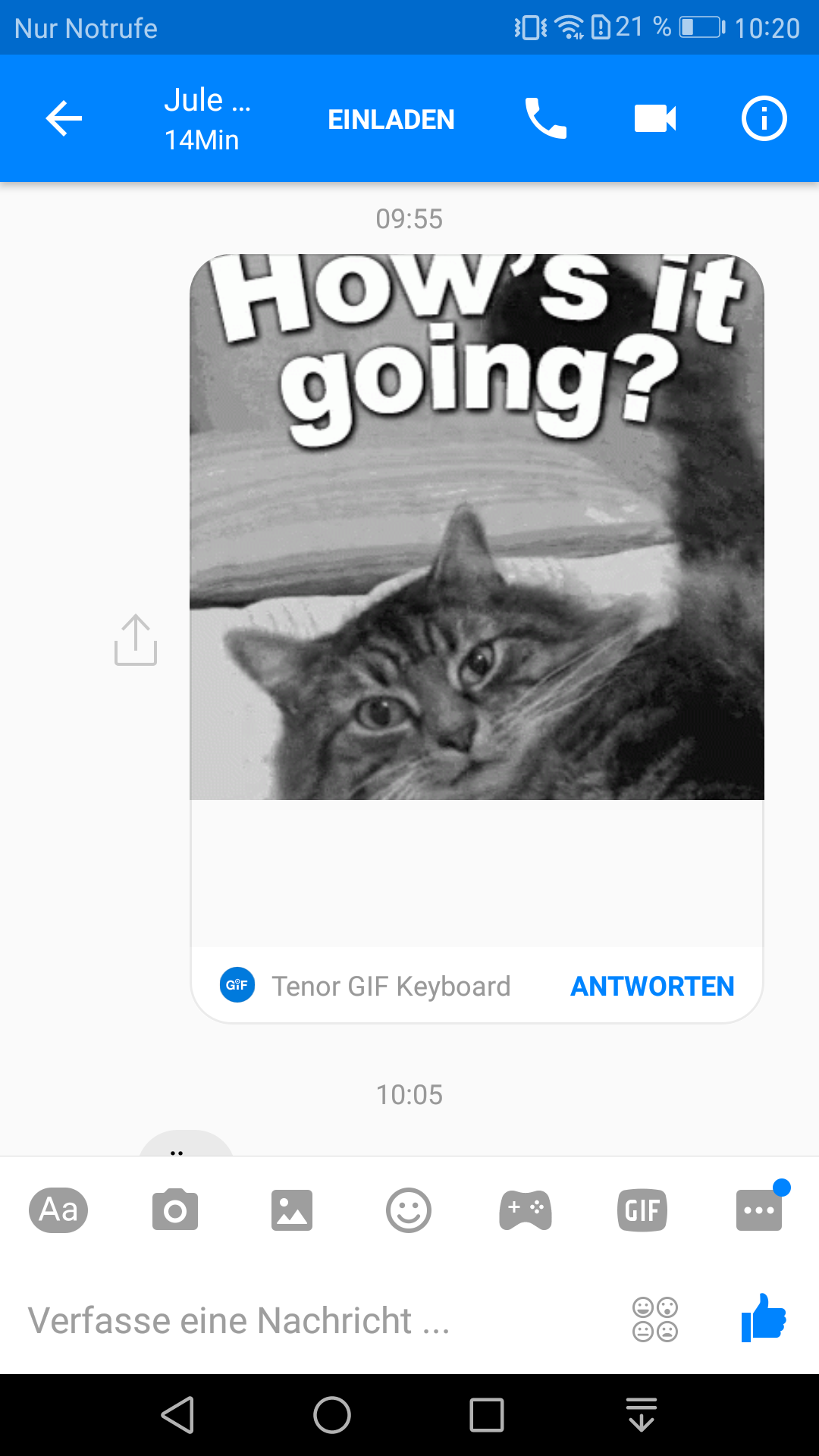 Facebook Messenger (Screenshot by Berti Kolbow-Lehradt)