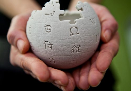 Mini Wikipedia globe at the Wikimedia Foundation offices (adapted) Image by Lane Hartwell CC3.0 Share Alike via Wikipedia