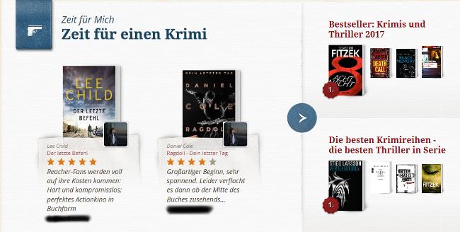 Lovelybooks Empfehlung (Screenshot by Jennifer Eilitz)