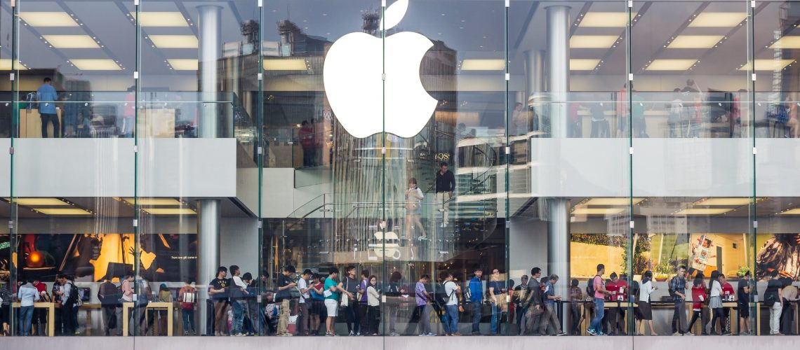 Apple Store (adapted) (Image by Robert_z_Ziemi) (CC0 Public Domain) via Pixabay