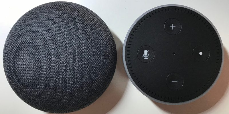 Google Home Mini vs. Echo Dot (Image by Timo Brauer)