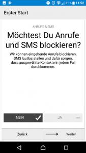 Offtime Anrufe und SMS (Screenshot by Jennifer Eilitz)
