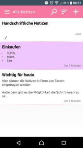 Notepad App Notizen Übersicht pink (Screenshot by Jennifer Eilitz)