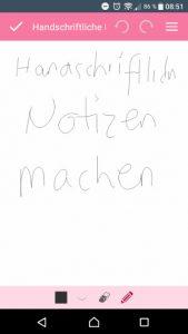 Notepad App Notizen Handschriftlich gestalten (Screenshot by Jennifer Eilitz)
