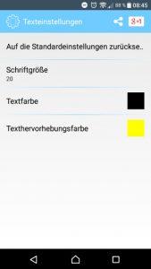 Notepad App Schrifteinstellungen (Screenshot by Jennifer Eilitz)