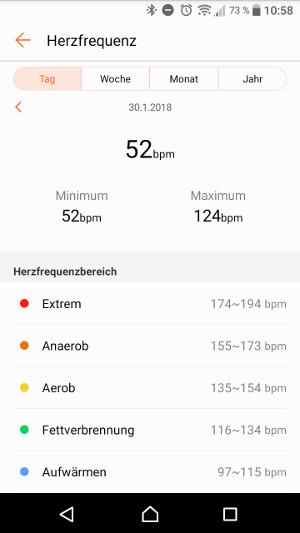 Huawei Band 2 Pro Health App Herzfrequenz (Screenshot by Jennifer Eilitz)