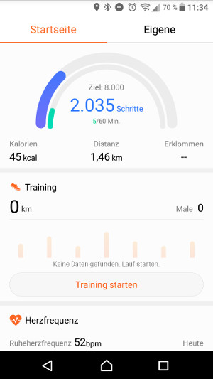 Huawei Band 2 Pro Health App Startseite (Screenshot by Jennifer Eilitz)