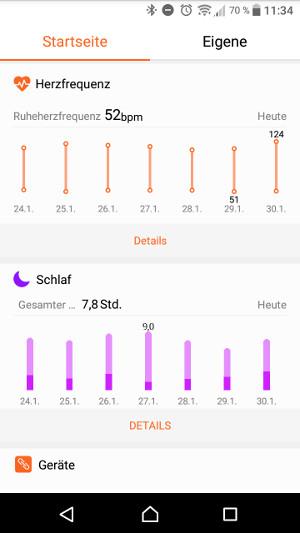 Huawei Band 2 Pro Herz und Schlaf (Screenshot by Jennifer Eilitz)