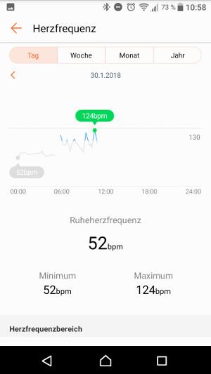 Huawei Band 2 Pro Herzfrequenz 2 (Screenshot by Jennifer Eilitz)